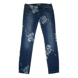 Free People 25 Skinny Ankle Jeans Floral Print